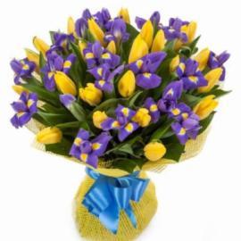 Букет 101 Желтый тюльпан с ирисом