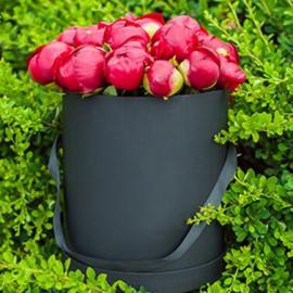 Красные пионы в шляпной коробке