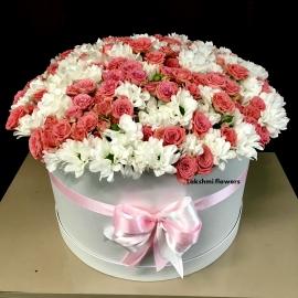 Коробка кустовых роз с хризантемой