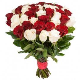 Розы микс белые и красные