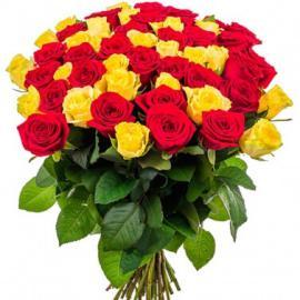 51 микс желтые и красные розы