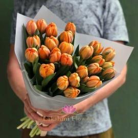 25 оранжевых пионовидных тюльпанов