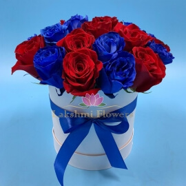25 роз красно-синий микс в коробке