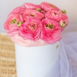 Розовые ранункулюсы в шляпной коробке